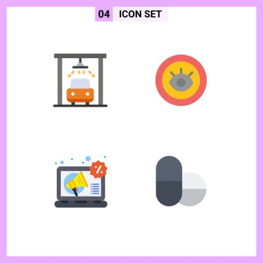 Stock Vector Icon Pack of 4 Line Signs and Symbols for car, marketing, eye, technical, pills Editable Vector Design Elements icon