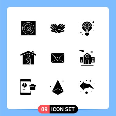 Stock Vector Icon Pack of 9 Line Signs and Symbols for love, canada, relations, house, idea Editable Vector Design Elements icon