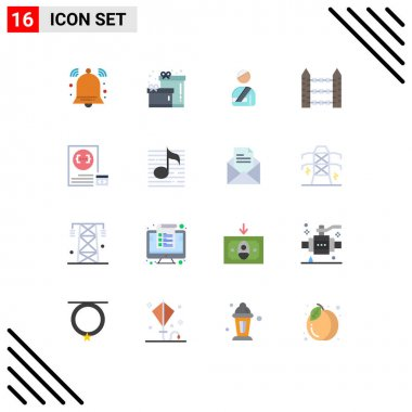 16 Creative Icons Modern Signs and Symbols of coding, wire, user, signaling, protection Editable Pack of Creative Vector Design Elements icon
