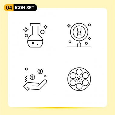 Stock Vector Icon Pack of 4 Line Signs and Symbols for tube, charity, test, laboratory, dollar Editable Vector Design Elements icon