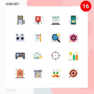 Universal Icon Symbols Group of 16 Modern Flat Colors of media, mobile, antenna, message, radio antenna Editable Pack of Creative Vector Design Elements icon