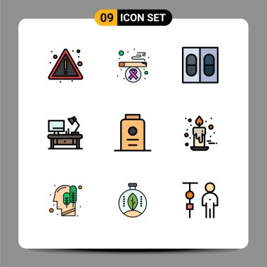 Stock Vector Icon Pack of 9 Line Signs and Symbols for white, fresh, pills, baby, office table Editable Vector Design Elements icon
