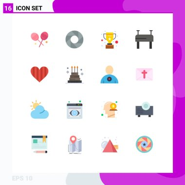 16 Creative Icons Modern Signs and Symbols of cake, favorite, win, like, heart Editable Pack of Creative Vector Design Elements icon