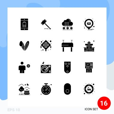 Stock Vector Icon Pack of 16 Line Signs and Symbols for email, connect, gavel, data, network Editable Vector Design Elements icon