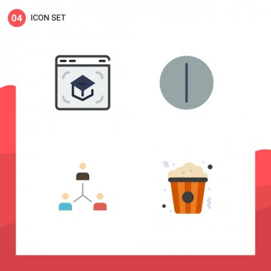 Pack of 4 Modern Flat Icons Signs and Symbols for Web Print Media such as education, company, online, switch, group Editable Vector Design Elements icon