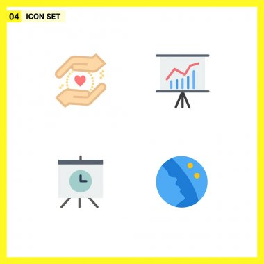 Stock Vector Icon Pack of 4 Line Signs and Symbols for business, time, lecture, presentation, dry skin Editable Vector Design Elements icon