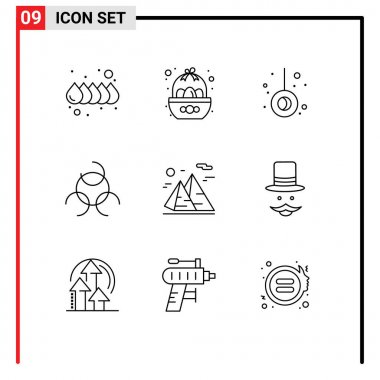 Stock Vector Icon Pack of 9 Line Signs and Symbols for travel, nature, movement, hiking, biology sign Editable Vector Design Elements icon
