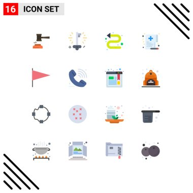 Universal Icon Symbols Group of 16 Modern Flat Colors of health, left, business, indicator, arrows Editable Pack of Creative Vector Design Elements icon