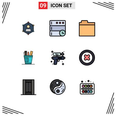 Stock Vector Icon Pack of 9 Line Signs and Symbols for supplies, office, server, desk, storage Editable Vector Design Elements icon