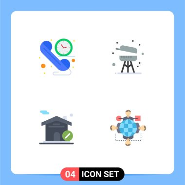 Stock Vector Icon Pack of 4 Line Signs and Symbols for call, house, time, equipment, function Editable Vector Design Elements icon