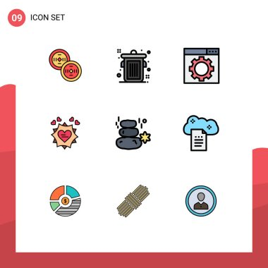 Set of 9 Modern UI Icons Symbols Signs for stone, spa, website, rock, heart Editable Vector Design Elements icon