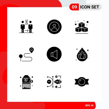 Stock Vector Icon Pack of 9 Line Signs and Symbols for speaker, pin, user, navigation, location Editable Vector Design Elements icon