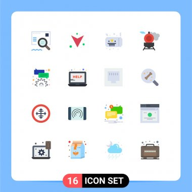 Set of 16 Modern UI Icons Symbols Signs for help, comment, celebration, bubble, train Editable Pack of Creative Vector Design Elements icon