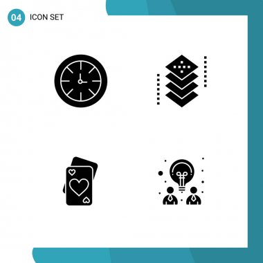 Stock Vector Icon Pack of 4 Line Signs and Symbols for watch, card, global, development, heart Editable Vector Design Elements icon