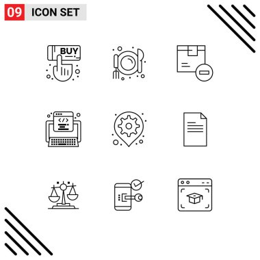 Stock Vector Icon Pack of 9 Line Signs and Symbols for gps, web, delete, program, code Editable Vector Design Elements icon