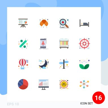 Stock Vector Icon Pack of 16 Line Signs and Symbols for bed, protect, cells, search, bug Editable Pack of Creative Vector Design Elements icon