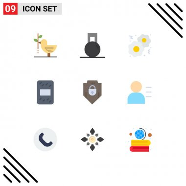 Stock Vector Icon Pack of 9 Line Signs and Symbols for shield, internet, weight, pack, grain Editable Vector Design Elements icon