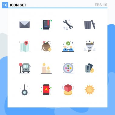 16 Creative Icons Modern Signs and Symbols of coconut, location, options, map, garbage Editable Pack of Creative Vector Design Elements icon