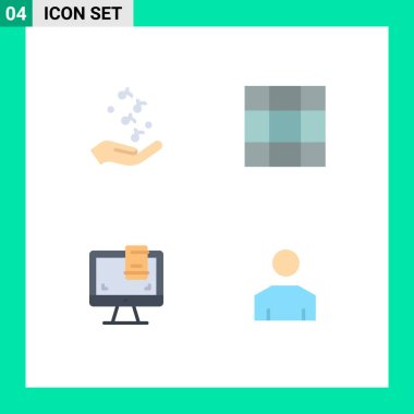 Flat Icon Pack of 4 Universal Symbols of fist, monitor, rock, layout, avatar Editable Vector Design Elements icon