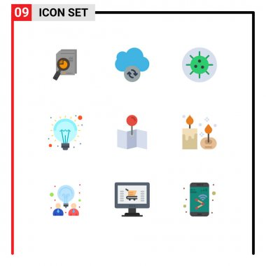 Stock Vector Icon Pack of 9 Line Signs and Symbols for map, light, data, idea, virus Editable Vector Design Elements icon
