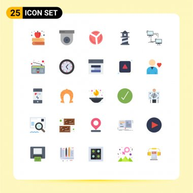 Stock Vector Icon Pack of 25 Line Signs and Symbols for computer, connection, pie chart, lan, house Editable Vector Design Elements icon