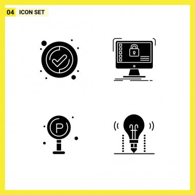 Stock Vector Icon Pack of 4 Line Signs and Symbols for interface, life, secure, system, board Editable Vector Design Elements icon