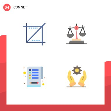 Pack of 4 Modern Flat Icons Signs and Symbols for Web Print Media such as crop, clipboard, web, law, business Editable Vector Design Elements icon