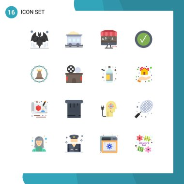 Set of 16 Modern UI Icons Symbols Signs for strategy, tower, marketing, fort, tick Editable Pack of Creative Vector Design Elements icon
