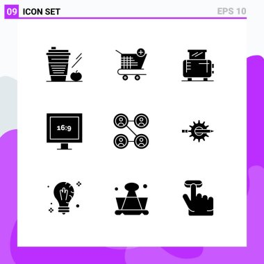 Stock Vector Icon Pack of 9 Line Signs and Symbols for friends, hd, shopping, display, toaster Editable Vector Design Elements icon