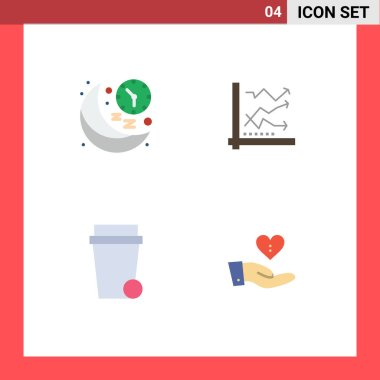 User Interface Pack of 4 Basic Flat Icons of clock, chart, night, analysis, glass Editable Vector Design Elements icon