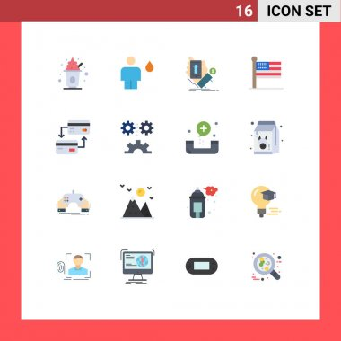 Stock Vector Icon Pack of 16 Line Signs and Symbols for usa, states, human, flag, smartphone Editable Pack of Creative Vector Design Elements icon