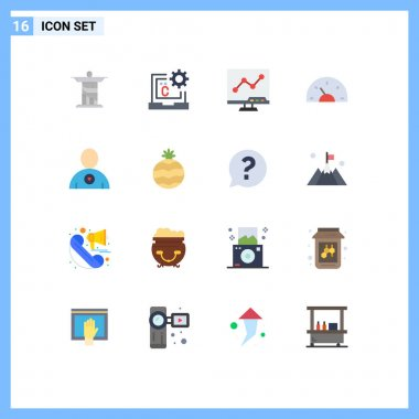 Set of 16 Modern UI Icons Symbols Signs for dashboard, car, development, bike, screen Editable Pack of Creative Vector Design Elements icon