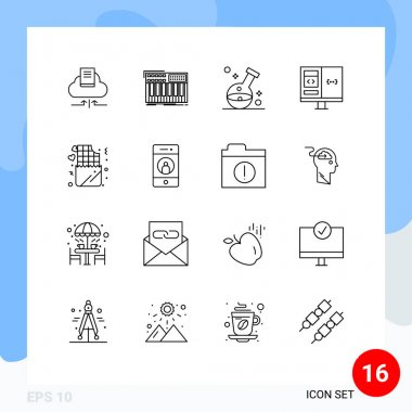 Stock Vector Icon Pack of 16 Line Signs and Symbols for develop, coding, synthesizer, app, laboratory Editable Vector Design Elements icon