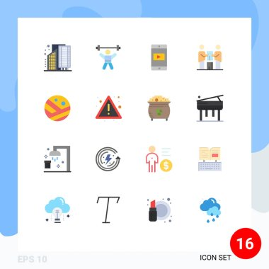 Set of 16 Modern UI Icons Symbols Signs for partnership, cooperation, fitness, business, mobile application Editable Pack of Creative Vector Design Elements icon