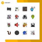 Fotografie Universal Icon Symbols Gruppe von 16 modernen flachen, farbgefüllten Linien aus Karte, Schleife, Schrank, Mensch, Avatar Editierbare kreative Vektor-Design-Elemente