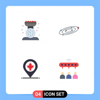 Editable Vector Line Pack of 4 Simple Flat Icons of baking, universe, kitchen scale, astronomy, location Editable Vector Design Elements icon