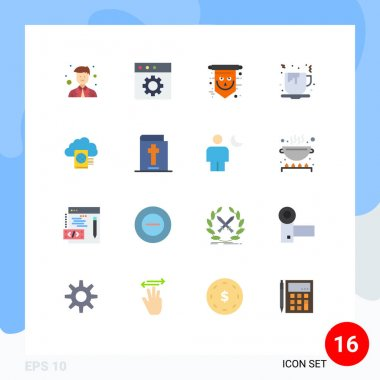 Stock Vector Icon Pack of 16 Line Signs and Symbols for reading, food, halloween, fast food, coffee Editable Pack of Creative Vector Design Elements icon