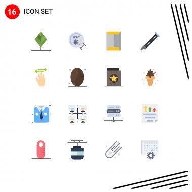 Set of 16 Modern UI Icons Symbols Signs for sound, instrument, window, flute, box Editable Pack of Creative Vector Design Elements icon