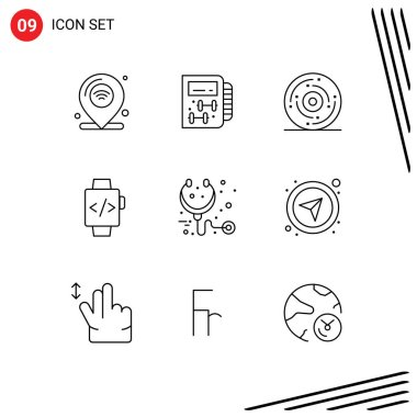 Stock Vector Icon Pack of 9 Line Signs and Symbols for care, hand watch, planning, watch, holiday Editable Vector Design Elements icon