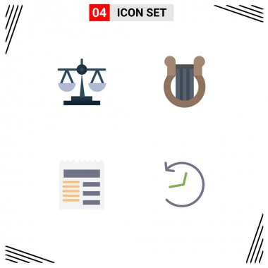 Set of 4 Commercial Flat Icons pack for balance, document, scale, harp, basic Editable Vector Design Elements icon