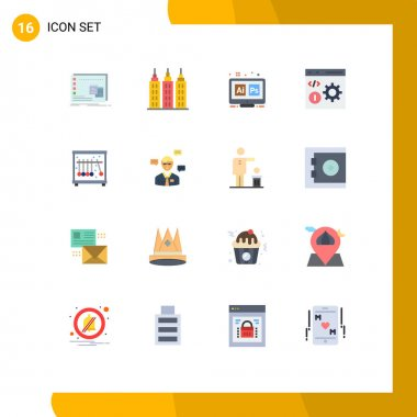 Set of 16 Modern UI Icons Symbols Signs for programming, develop, adobe, coding, ai Editable Pack of Creative Vector Design Elements icon