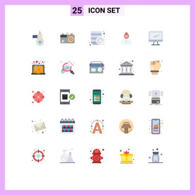Group of 25 Modern Flat Colors Set for weight, problem, image, life, plates Editable Vector Design Elements