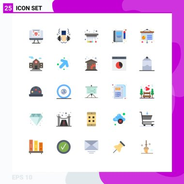Stock Vector Icon Pack of 25 Line Signs and Symbols for conference, write, pendulum, pencil, note Editable Vector Design Elements icon