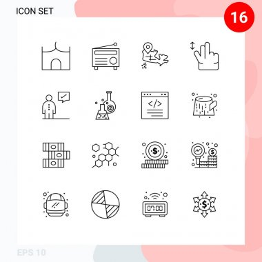 Stock Vector Icon Pack of 16 Line Signs and Symbols for corporate, business, media, swipe, gesture Editable Vector Design Elements icon
