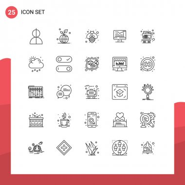 Stock Vector Icon Pack of 25 Line Signs and Symbols for cart, graph, save, static, honey Editable Vector Design Elements icon