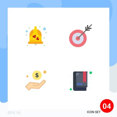 Pack of 4 Modern Flat Icons Signs and Symbols for Web Print Media such as bell, money, wedding bell, goal, charity Editable Vector Design Elements icon