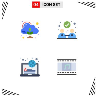 Editable Vector Line Pack of 4 Simple Flat Icons of emission, learning, cloud, partnership, animation Editable Vector Design Elements icon
