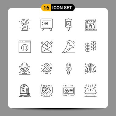 Stock Vector Icon Pack of 16 Line Signs and Symbols for develop, browser, test, sending, letter Editable Vector Design Elements icon