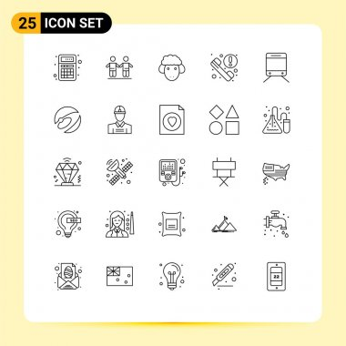 Stock Vector Icon Pack of 25 Line Signs and Symbols for regular, information, group, phone, spring Editable Vector Design Elements icon