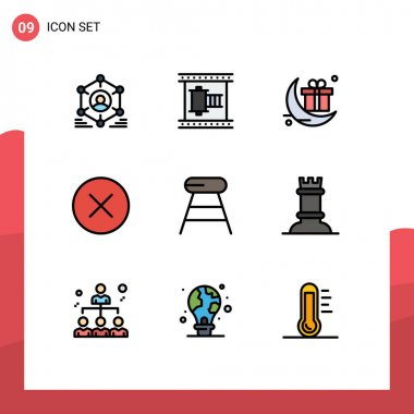 Stock Vector Icon Pack of 9 Line Signs and Symbols for coffee, delete, movie reel, circle, festival Editable Vector Design Elements icon